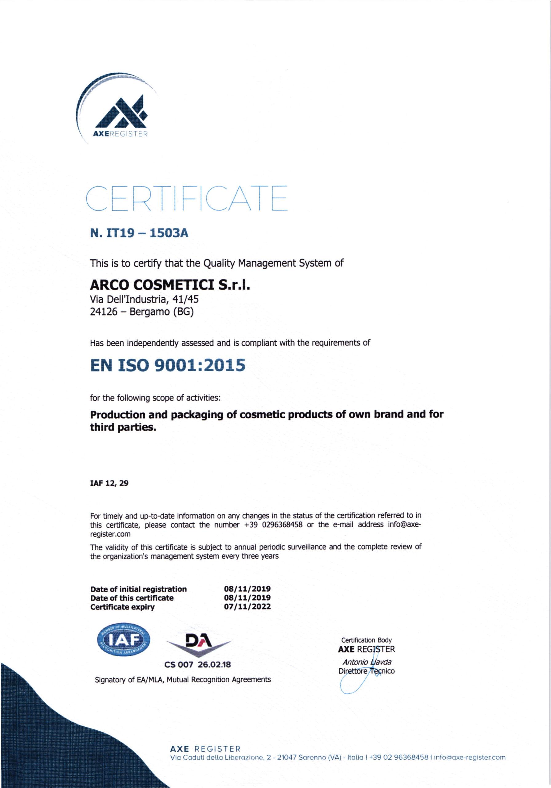 ISO 9001:2015 сертификат