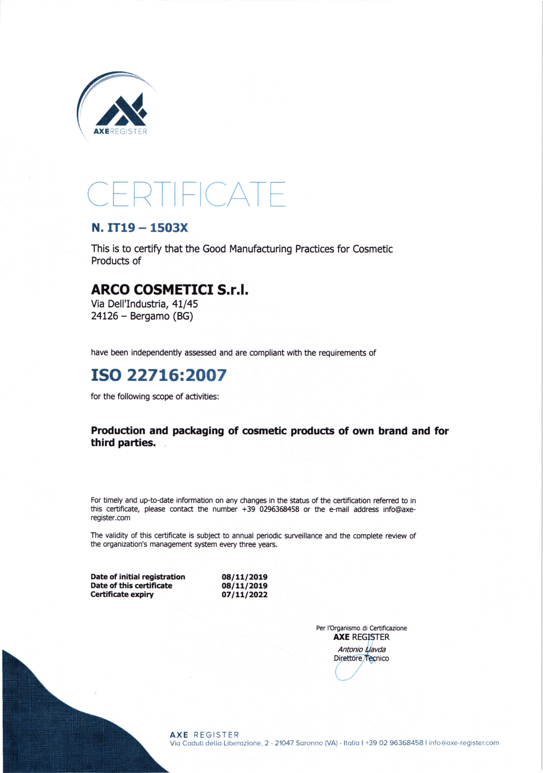 Сертификат ISO 22716 GMP надлежащая производственная практика
